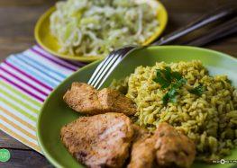 kurczak w marynacie musztardowo-miodowej z ryżem brązowym i surówką z białej kapusty, selera i pora